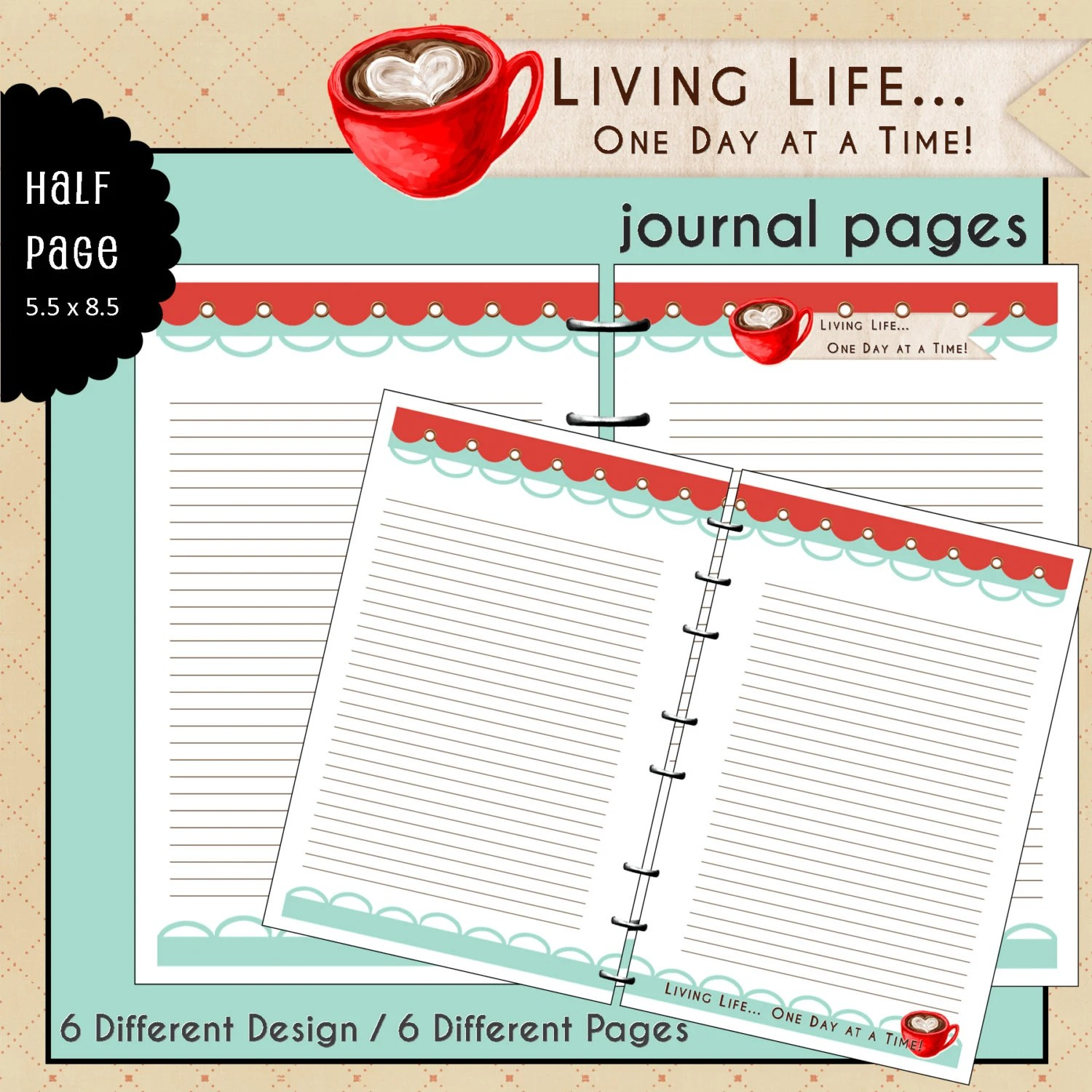 Half Page Printable Journal Notes Pages By Myunclutteredlife