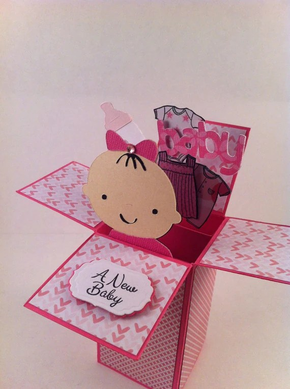 Baby Girl Card In A Box Pop Up Box Baby Shower Card Or