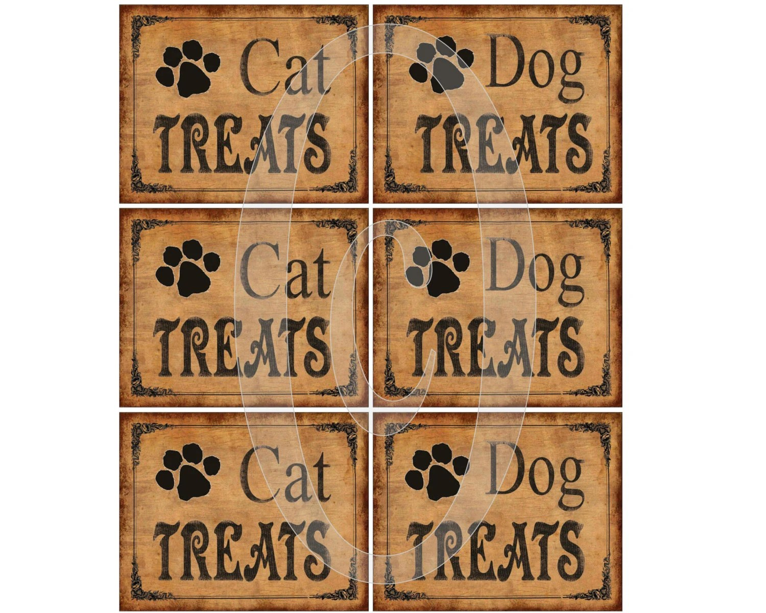 Labels Printable Dog And Cat Treats Primitive Instant Download