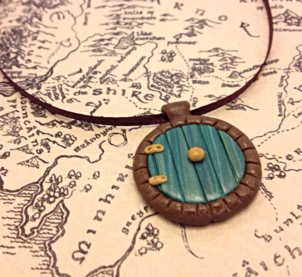 Hobbit Hole Door Pendant, LOTR Inspired, Green or Yellow Polymer Clay Necklace
