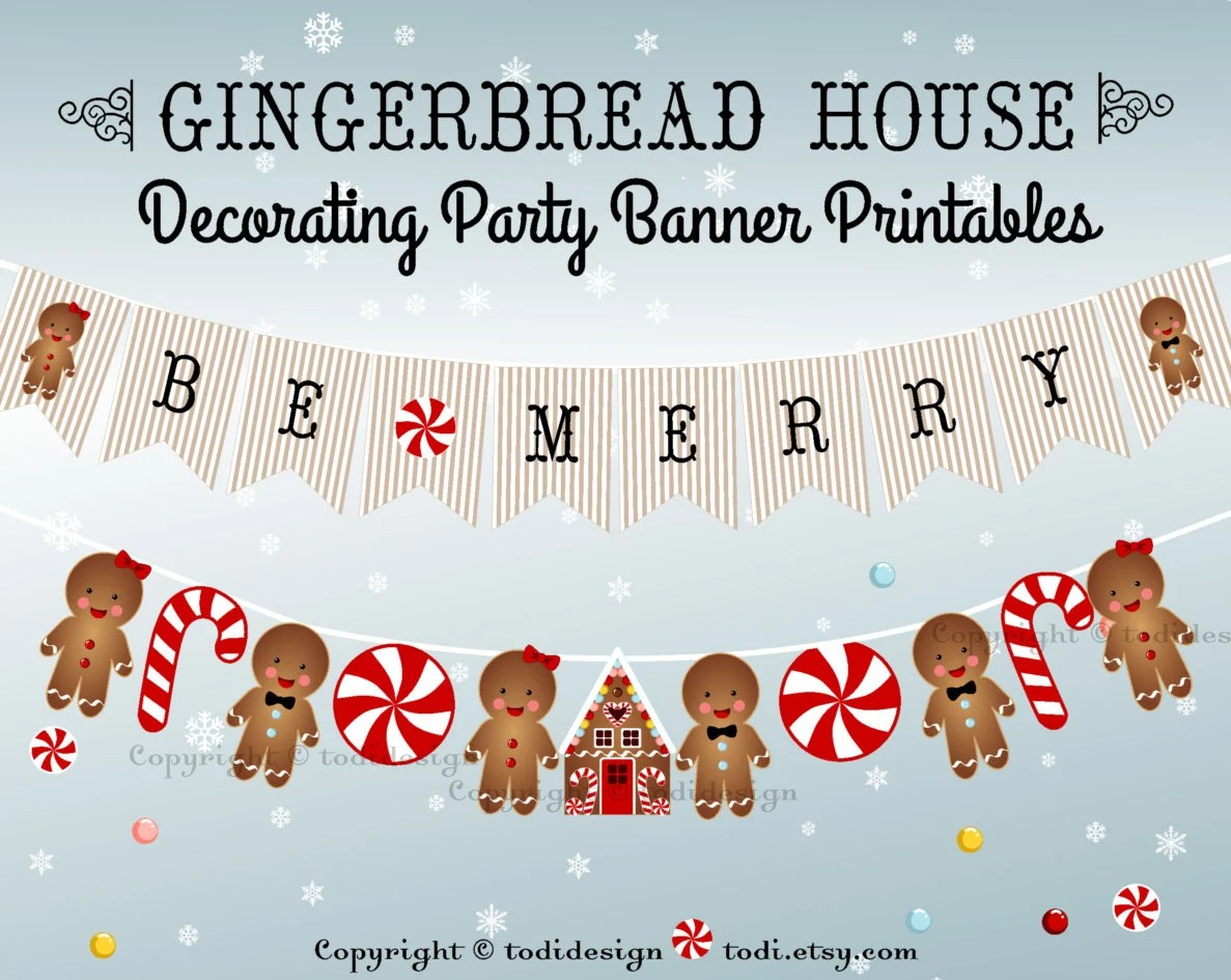 Gingerbread House Decorating Party Banner Printables Instant