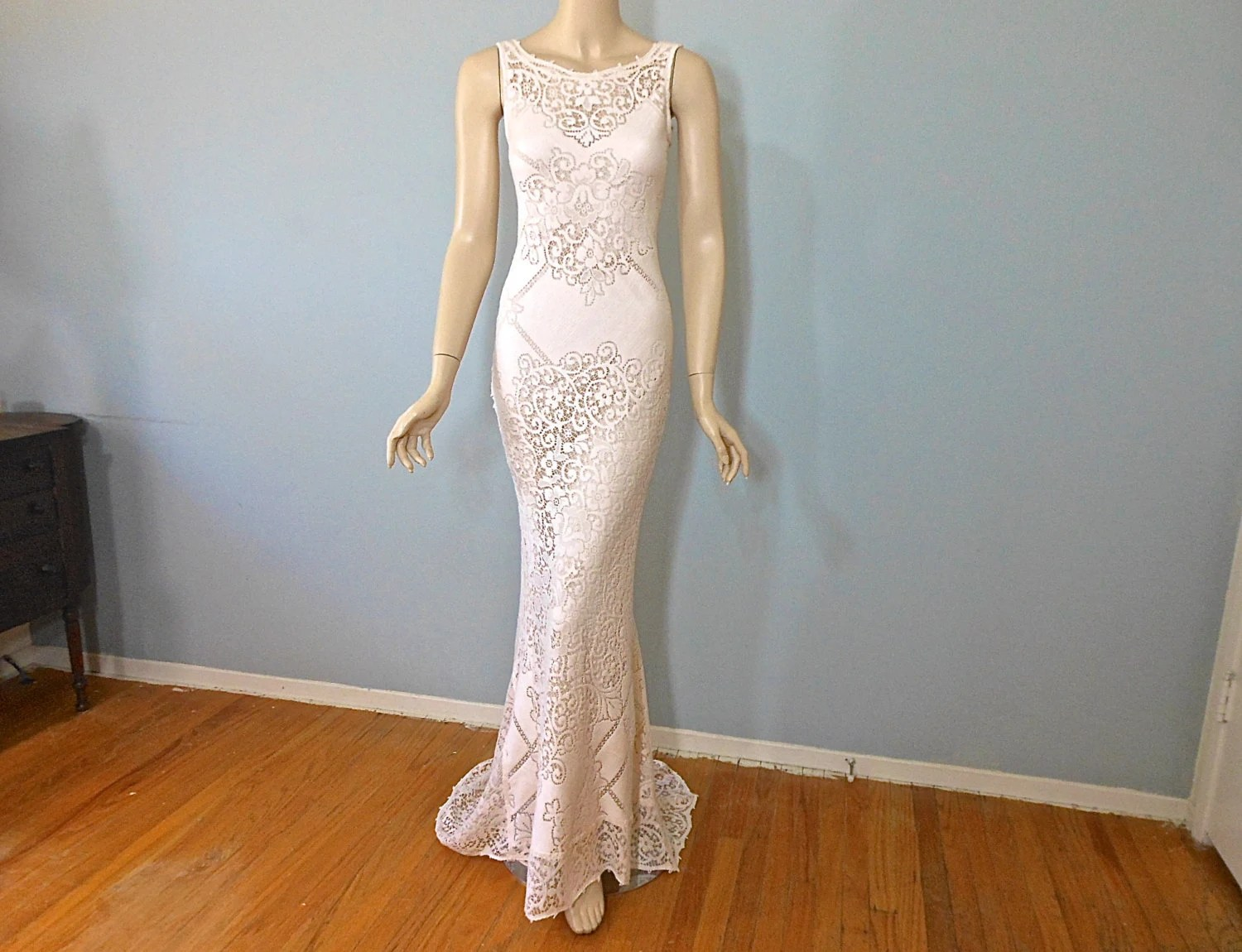 Peach LACE Wedding DRESS BoHo Wedding Dress SIMPLE Wedding
