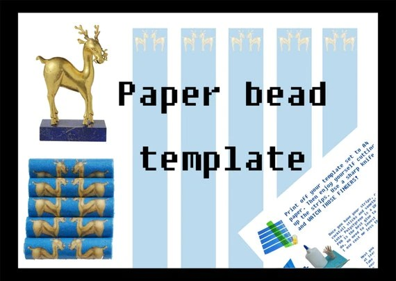 Items Similar To Paper Bead Printable Template Download Golden Deer Royal Blue Tube Beads
