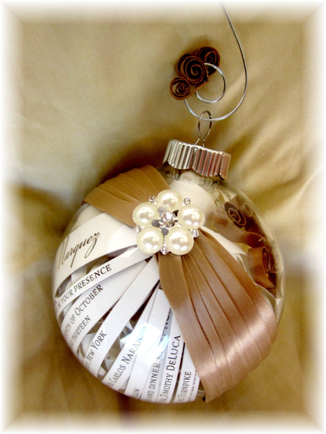 the perfect ornament made from your wedding invitations