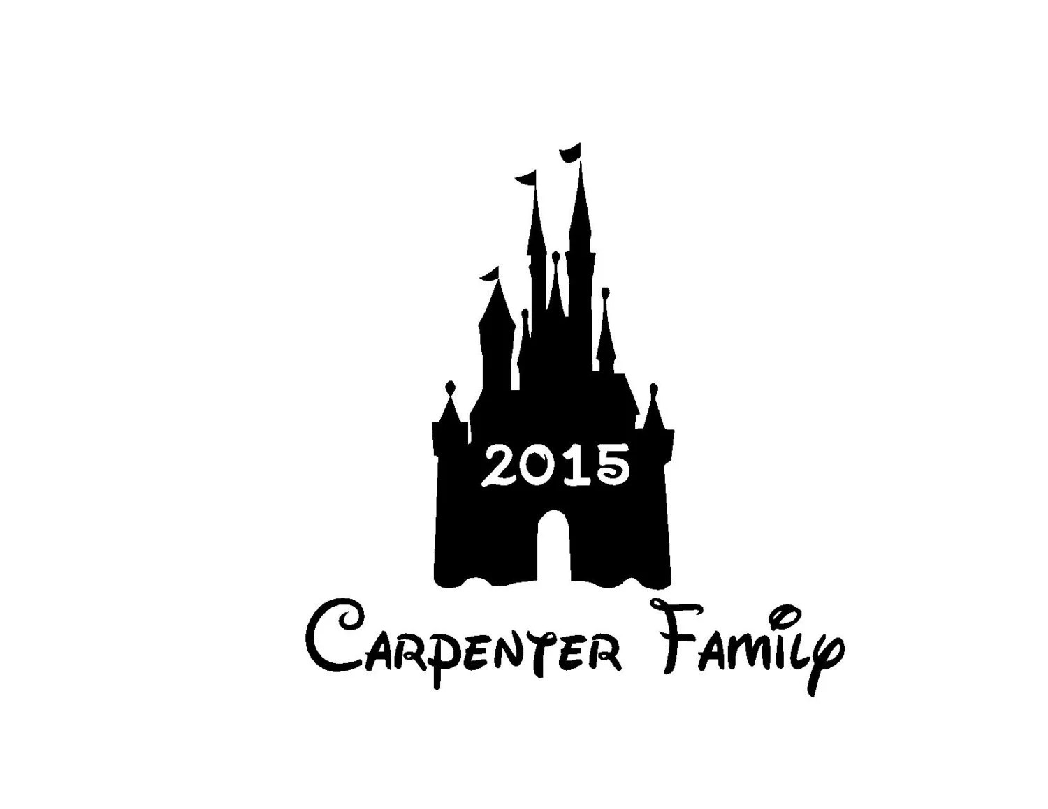 Personalized Disney Castle Family Trip Iron On Vinyl Decal