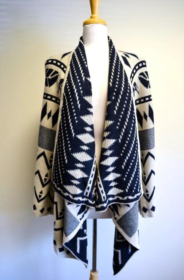 Boho Aztec Western Knitted Vest Poncho Navajo Ikat Gypsy