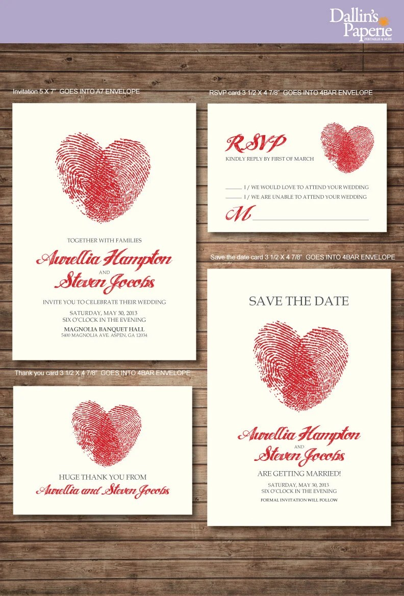 Wedding Invitation Printables Finger Print Heart Customized