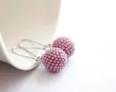 Pastel pink earrings, Beaded bead earrings, Wedding jewelry, Modern jewelry, Minimalist jewelry, Spring summer fashion - LizaKolesnik