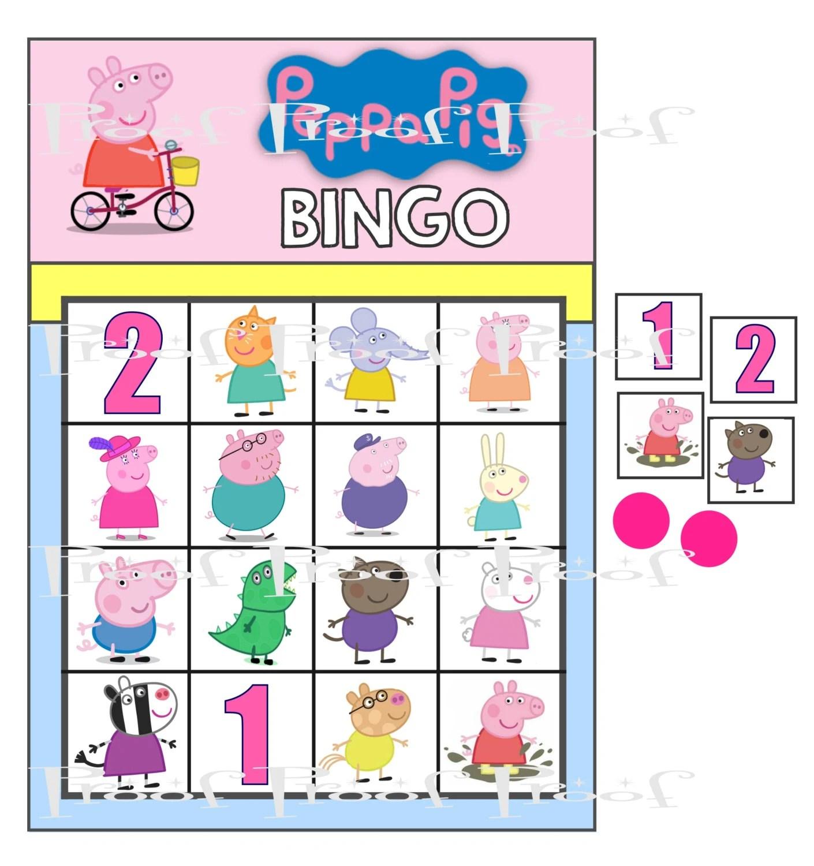 Peppa Pig Digital Birthday Party Bingo Game Diy Printable