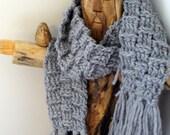 Crochet Gray Wool Scarf - Chunky Crochet Scarf - Long crochet wool scarf - Ready to Ship - YarnDarlin