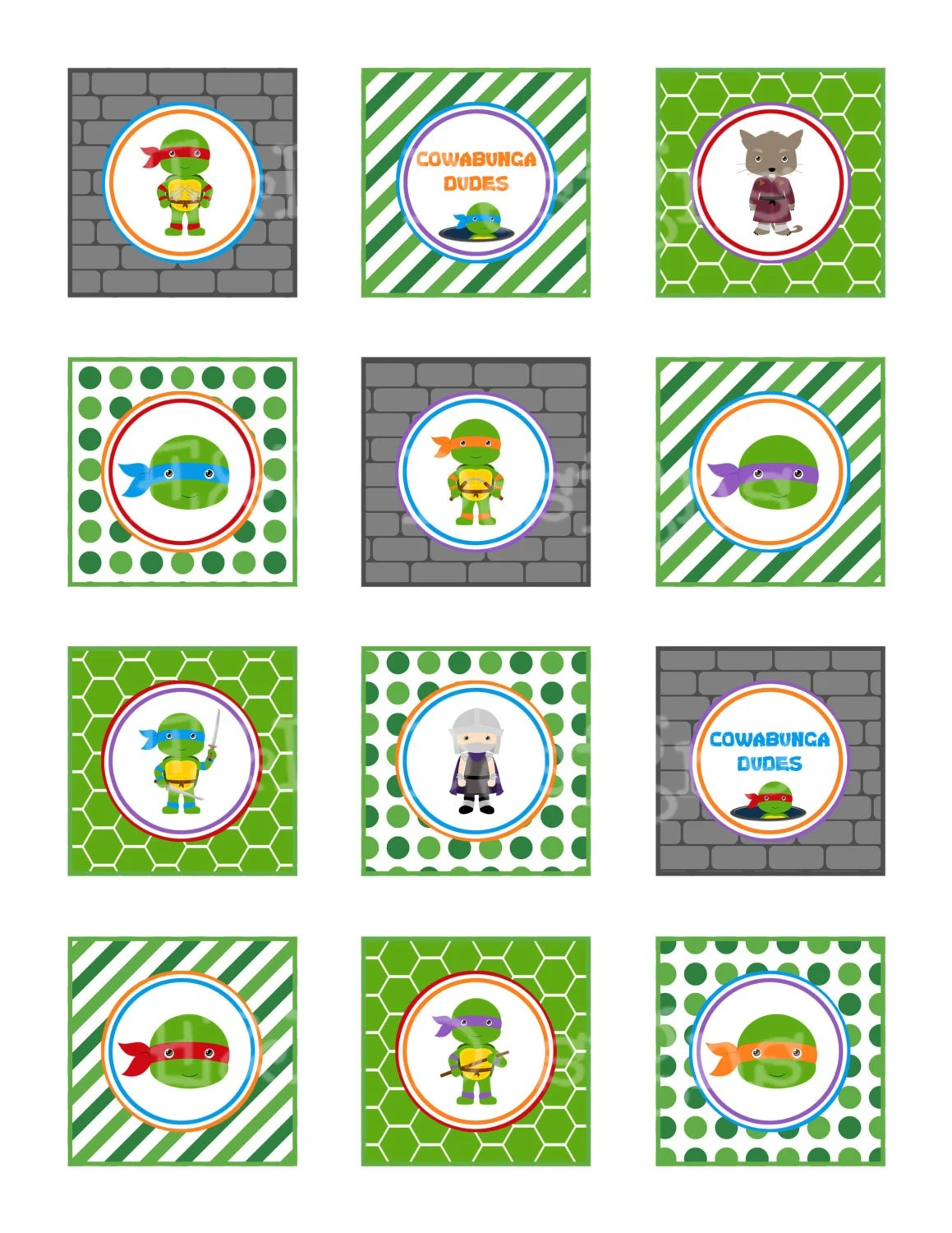 Ninja Turtle Cupcake Toppers And Wrappers Ninja Turtle Party