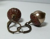 Light Brown Acorn Earrings. Swarovski Pearls and Brass. Red Patina Acorns. - VickieJoesJewels