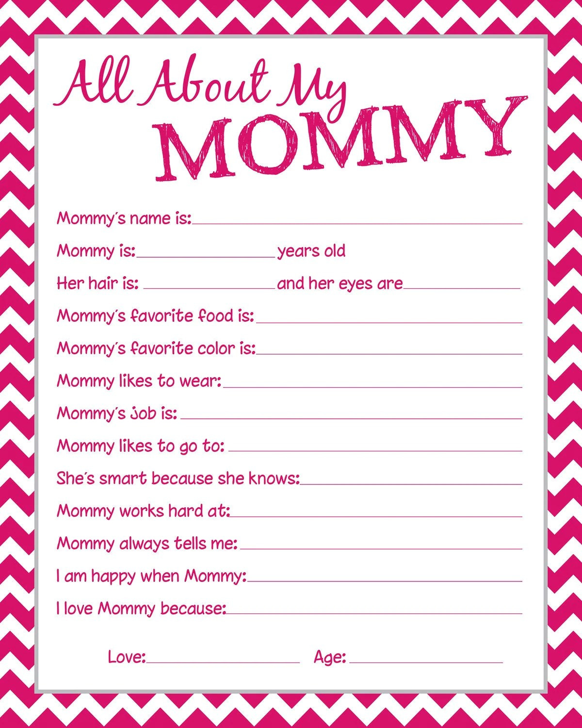 Mommy Questionnaire Perfect For Mother S Day By Kinneydesigns
