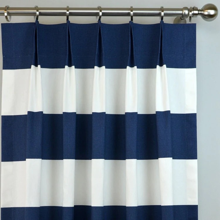 Navy Blue White Buffalo Check Curtains Pinch Pleat By Zeldabelle