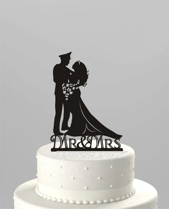 Wedding Cake Topper Silhouette Military Groom Amp Bride Acrylic