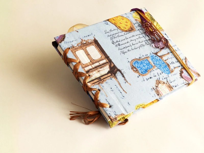 Journal with antique furniture on it's fabric pattern covers and READY TO SHIP, historic guesthouse book