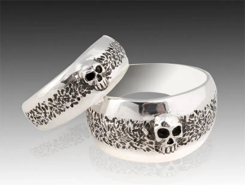 Silver Skull Wedding Ring Set Solid Sterling Silver Wedding
