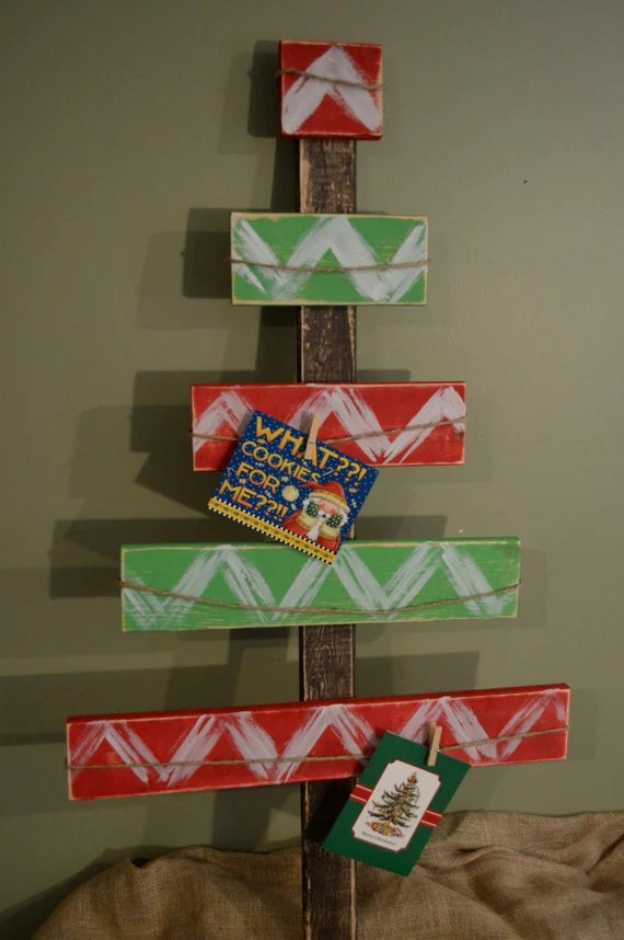Reclaimed Red And Green Chevron Wood Christmas Tree Christmas
