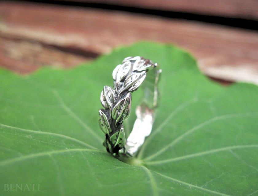 Leaves Wedding Ring In 14k White Gold Leaf Wedding Band Gold