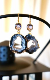 Shimmer Starry Night Geode Druzy Earring - Black - Agate Geode - Geode Earrings - Druzy - VintagePinch
