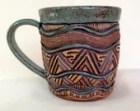 Stoneware Mug - Hand Built & Wheel Thrown - Aztec - Dimensional, Rustic - Large Coffee, Tea - Unique and Original
