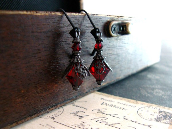 Romantic Red Gothic Earrings Blood Red Victorian by ...