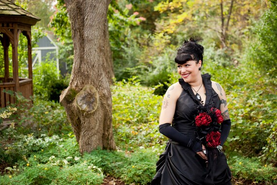 Black Wedding Dress In Taffeta With Halter Neckline Custom