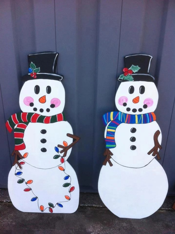 Christmas Snowmen Holiday Wooden Yard Art Personalized