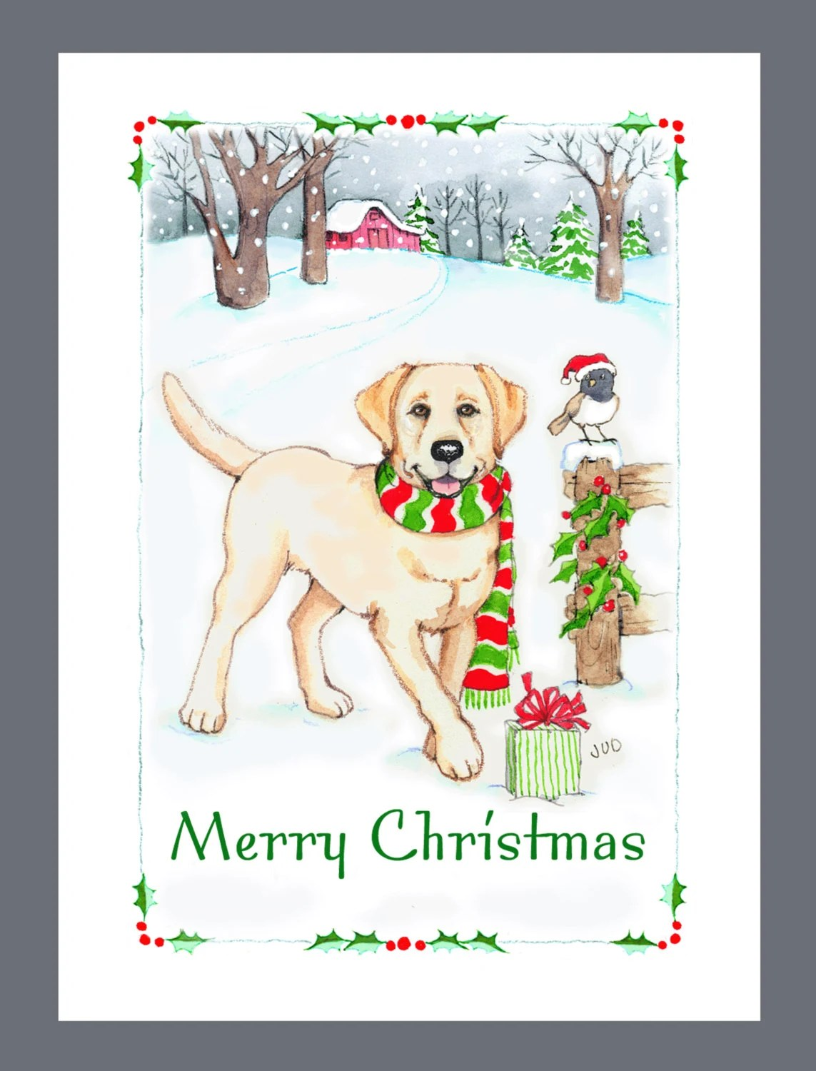 Yellow Labrador Retriever Dog Christmas Cards Box Of 16 Cards