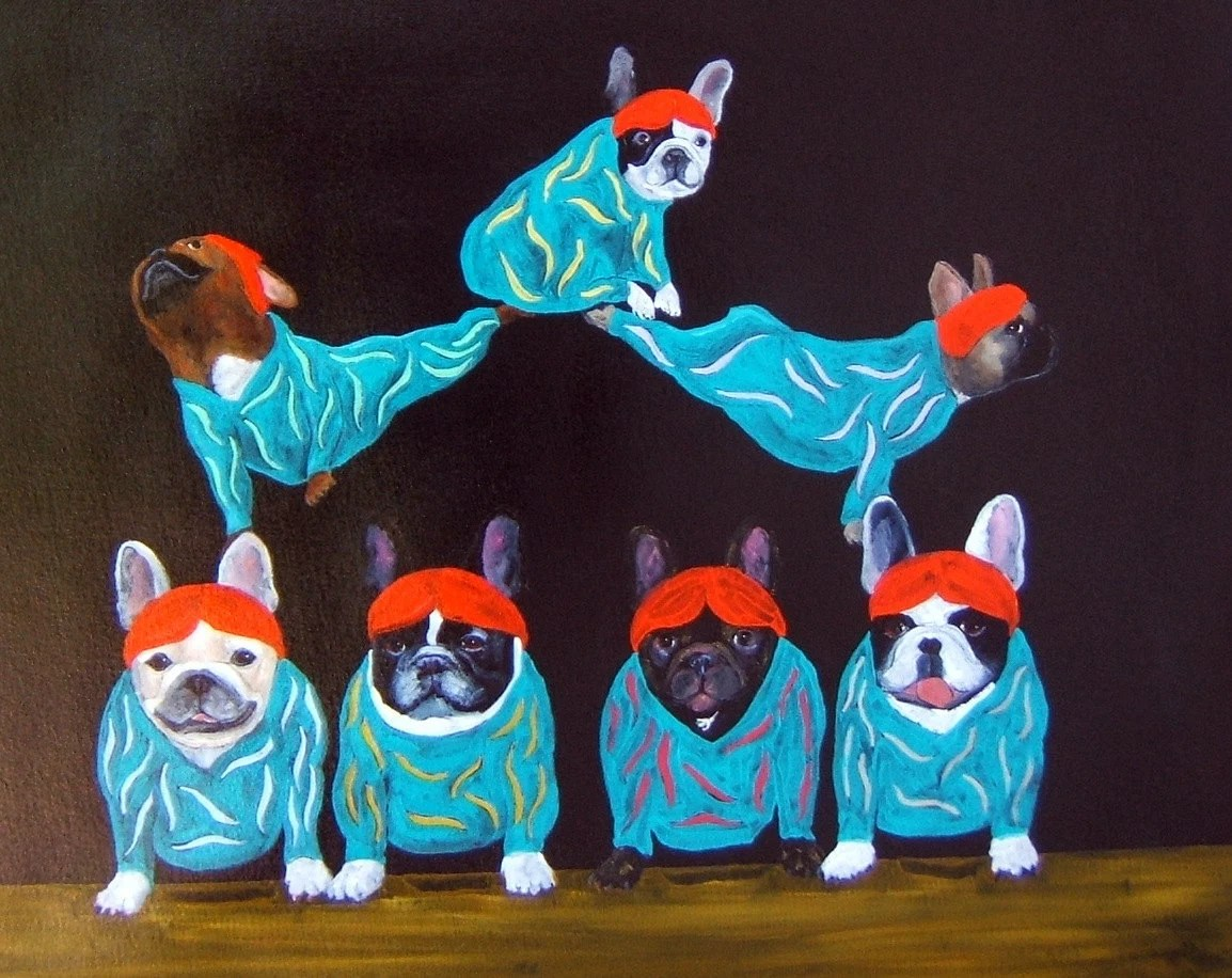 "French Bulldog Art Print/ ""Cirque de Frenchies"" / by Original Mike Holzer"