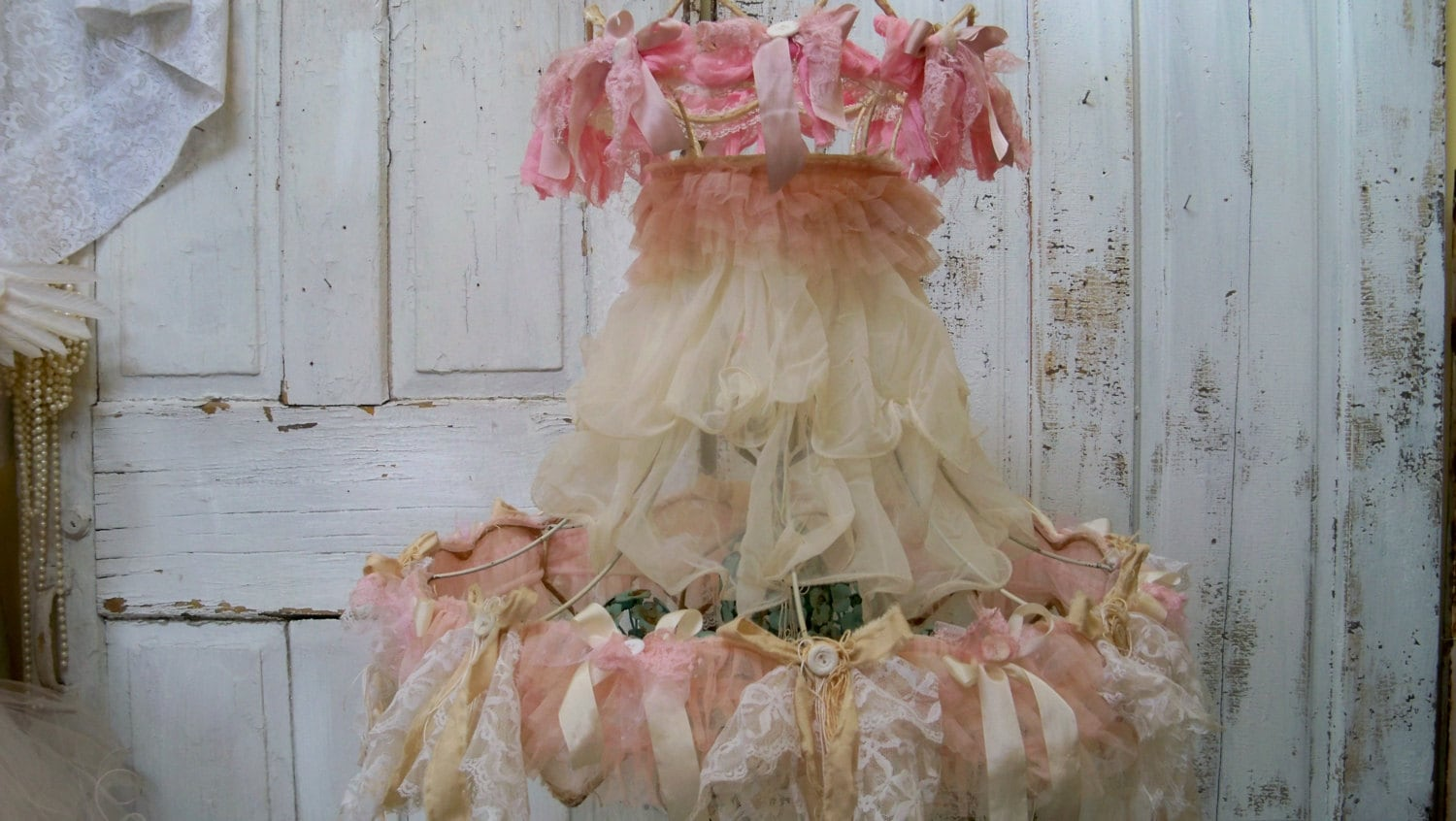 Shabby Chic Lamp Shade Large Pink And Cream Embellished