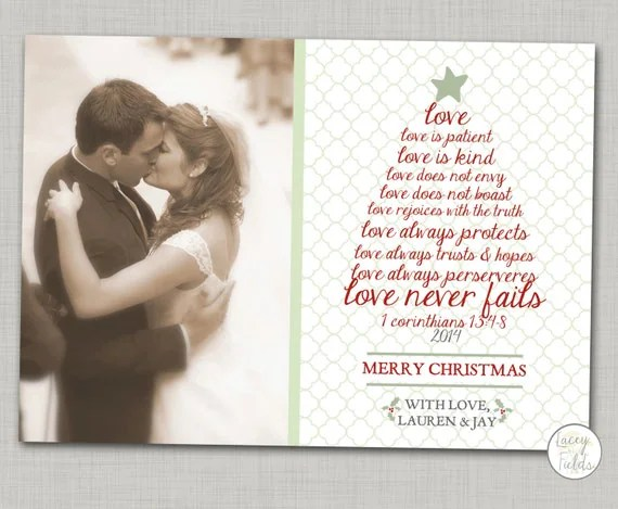 Items Similar To Newlywed Christmas Card Printable