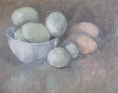 """Eggs...8""""x10"""" oil on linen...soft, gentle color and reflecitons - SmallOilWorks"""