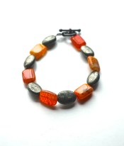 Fire agate bracelet, Orange bracelet, Agate bracelet, Pyrite bracelet, Red stone bracelet, Multi gemstone bracelet, Colorful bracelet, Stone