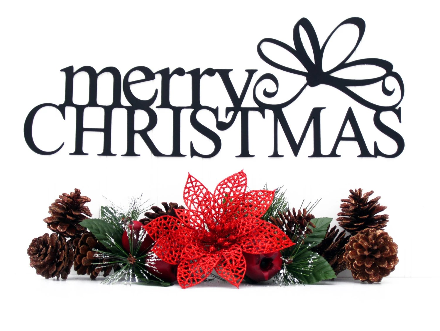 Merry Christmas Metal Sign With Bow Black 15x5.5 Xmas