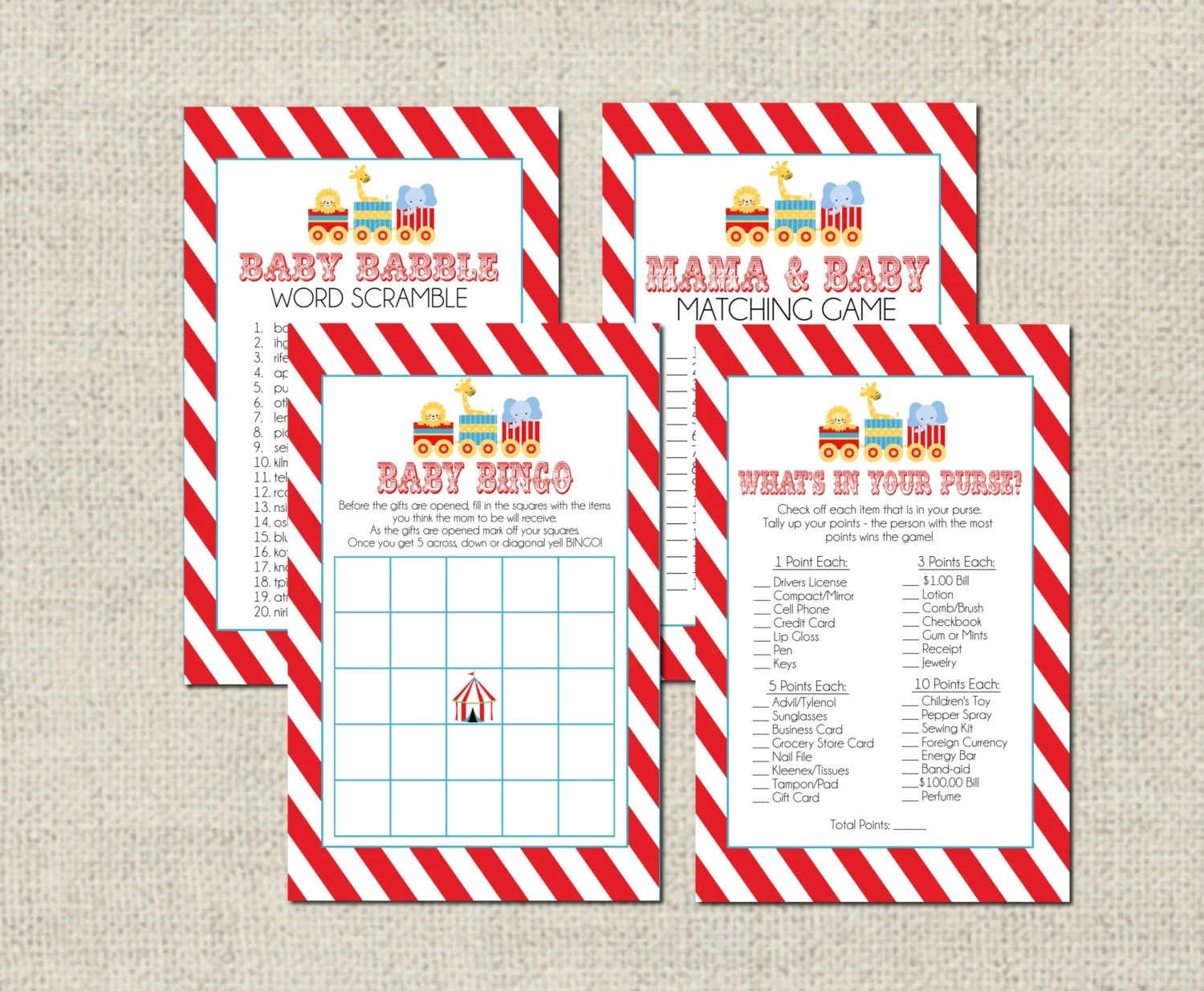 Circus Baby Shower Game Package Printable Baby Shower Games