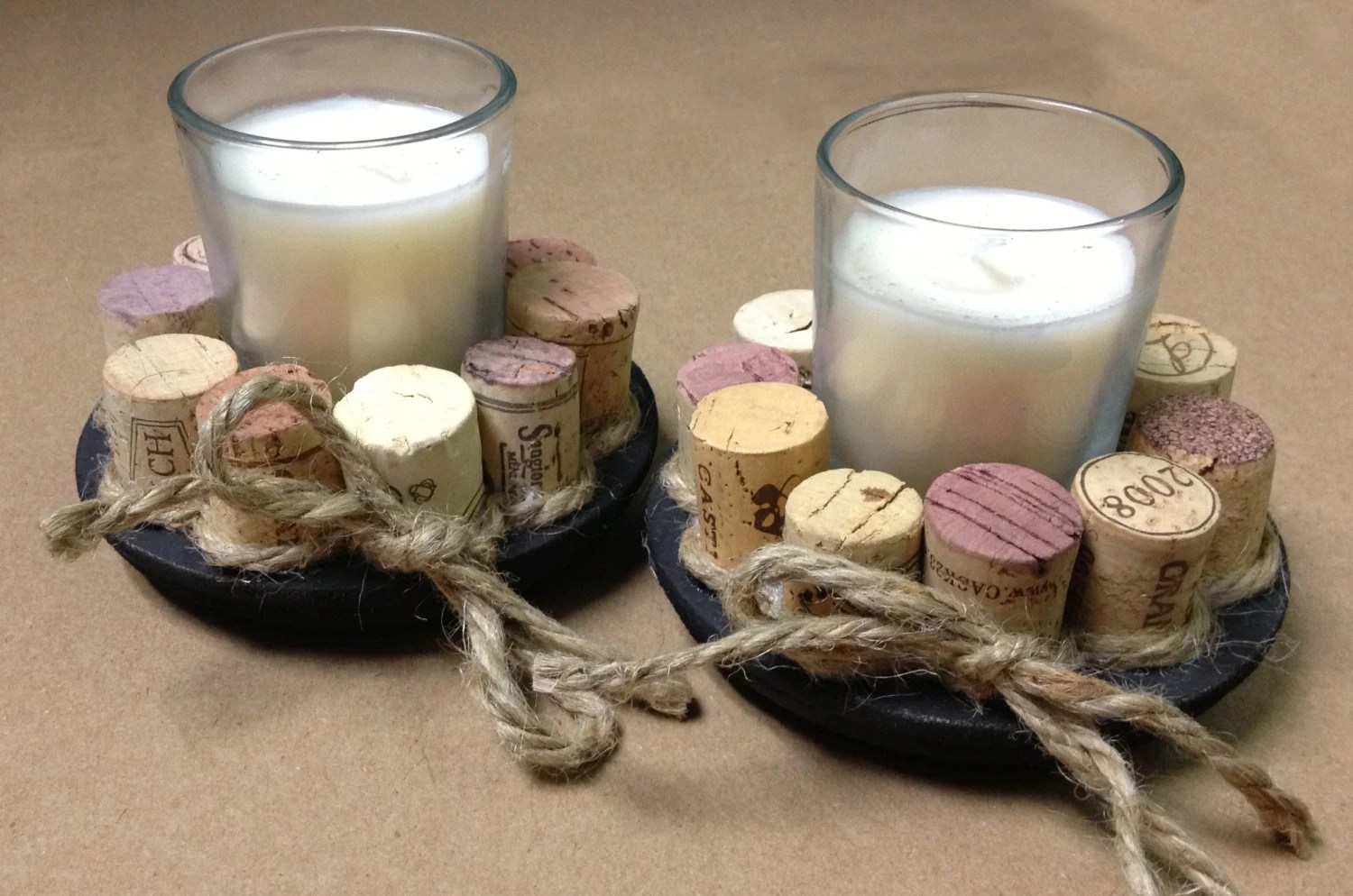 Recycled Wine Cork Votive Candle Holders Set Of 2 By