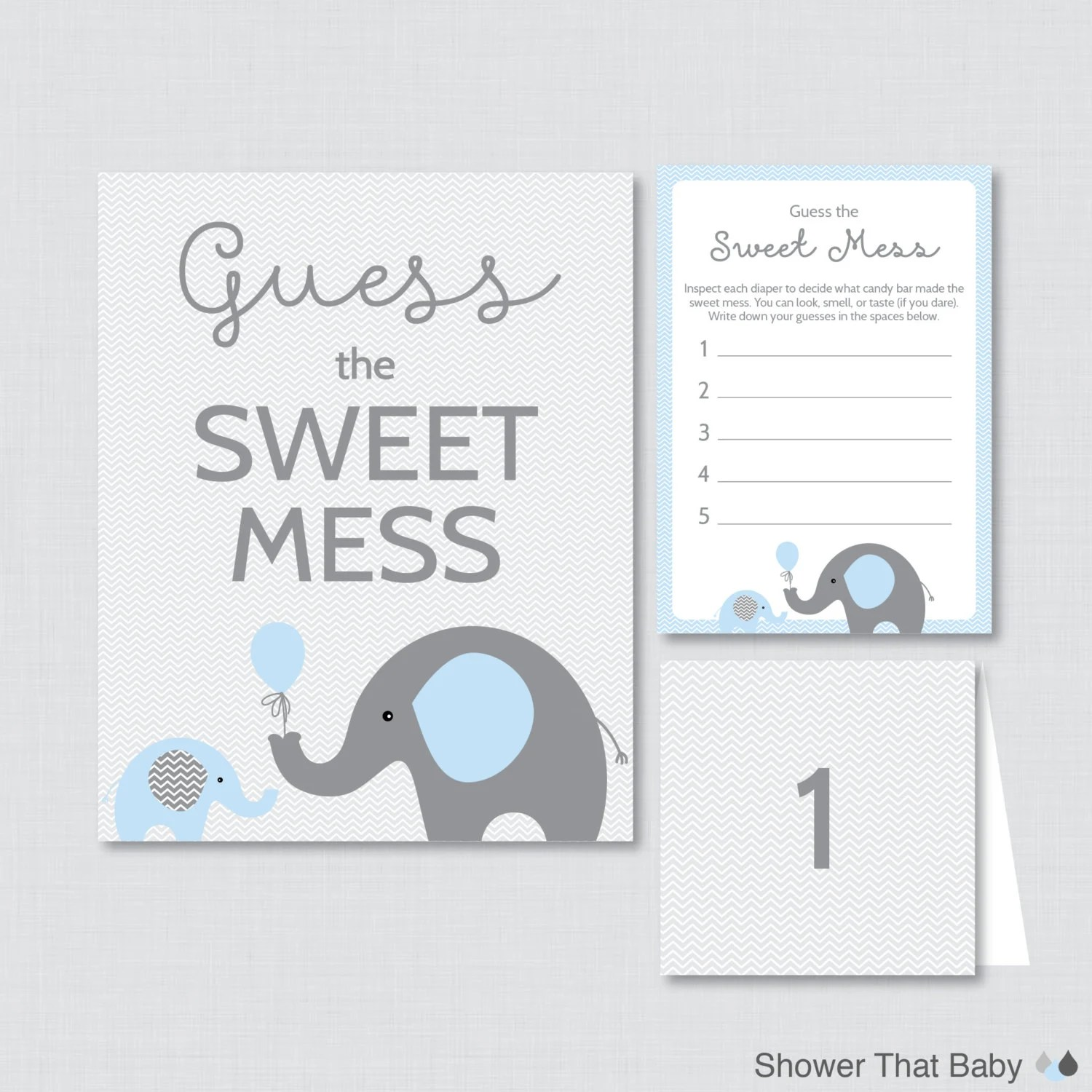 Elephant Baby Shower Diaper Candy Bar Game Printable Guess