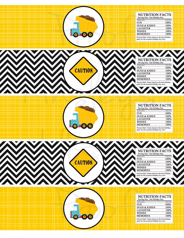 Dumptruck Printable Party Waterbottle Labels Construction