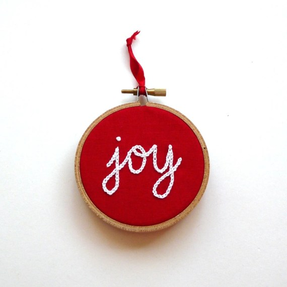 "Joy Christmas Tree Ornament Hand Embroidered - 3"" hoop"
