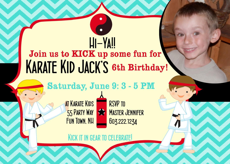 Birthday Invitations Karate