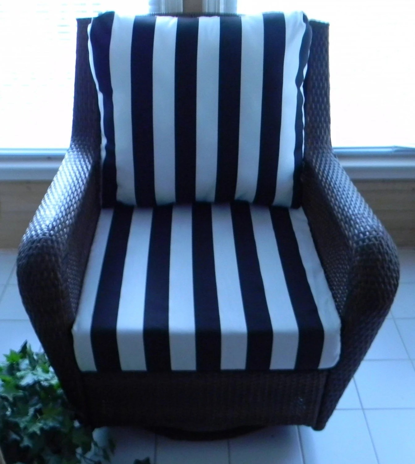 black amp white stripe cushion for outdoor by on Black And White Striped Outdoor Seat Cushions id=89554
