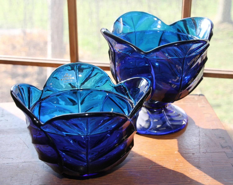 Vintage Viking Glass Bowls In Cobalt Blue Decorative
