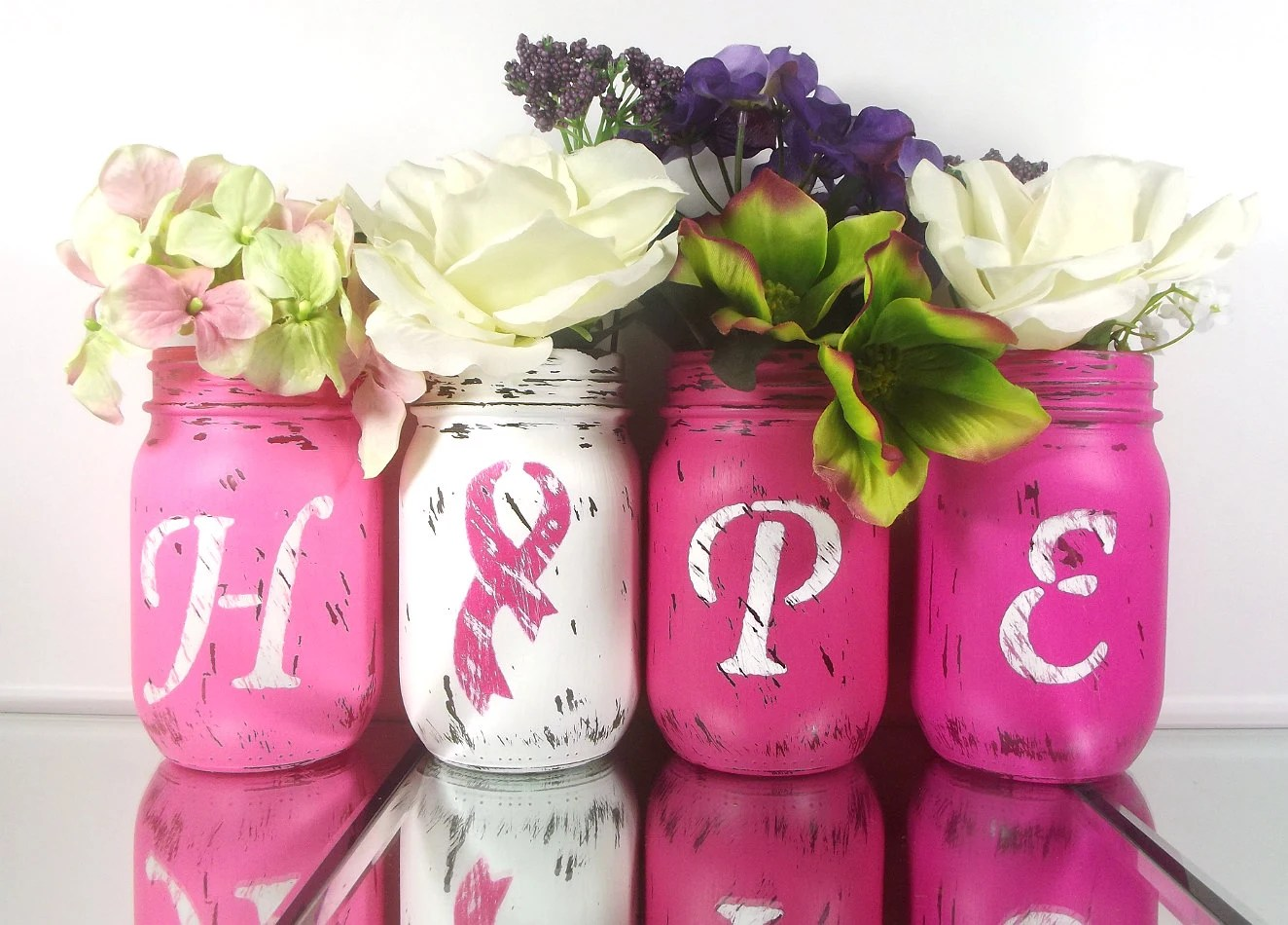 HOPE Painted Mason Jars Breast Cancer Awareness Decor Pink