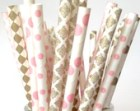 Dainty Damask Blush Pink and Gold Paper Straws, Blush Wedding Decor, Blush Pink Baby Shower, Blush Lace Paper Straws, Vintage Old fashioned