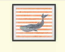 Printable Art Print, Whale Art Print, Americana Wall Art, Wall Prints, Red and White Striped Digital Art, Living Room Art Download