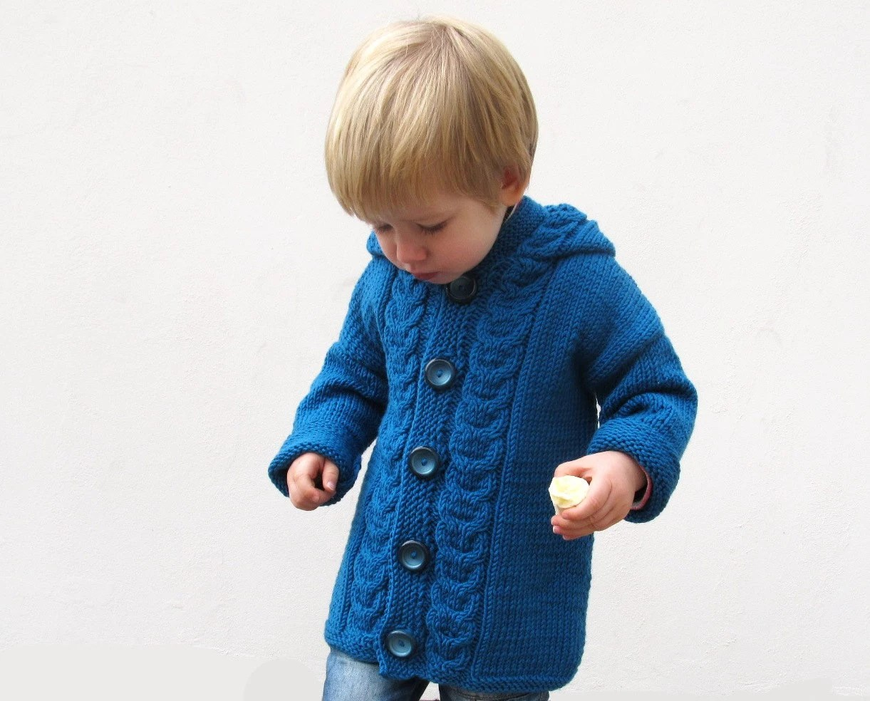 Kids sweater Hand knitted merino wool jacket for toddler Blue Kids cardigan Knitted kids coat Made to order - Junikid