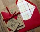 Rustic Wedding Invitation, Wood, Plaid & Red Velvet Wedding Invite, Rustic Wedding Invite, Calligraphy Invitation - DEPOSIT