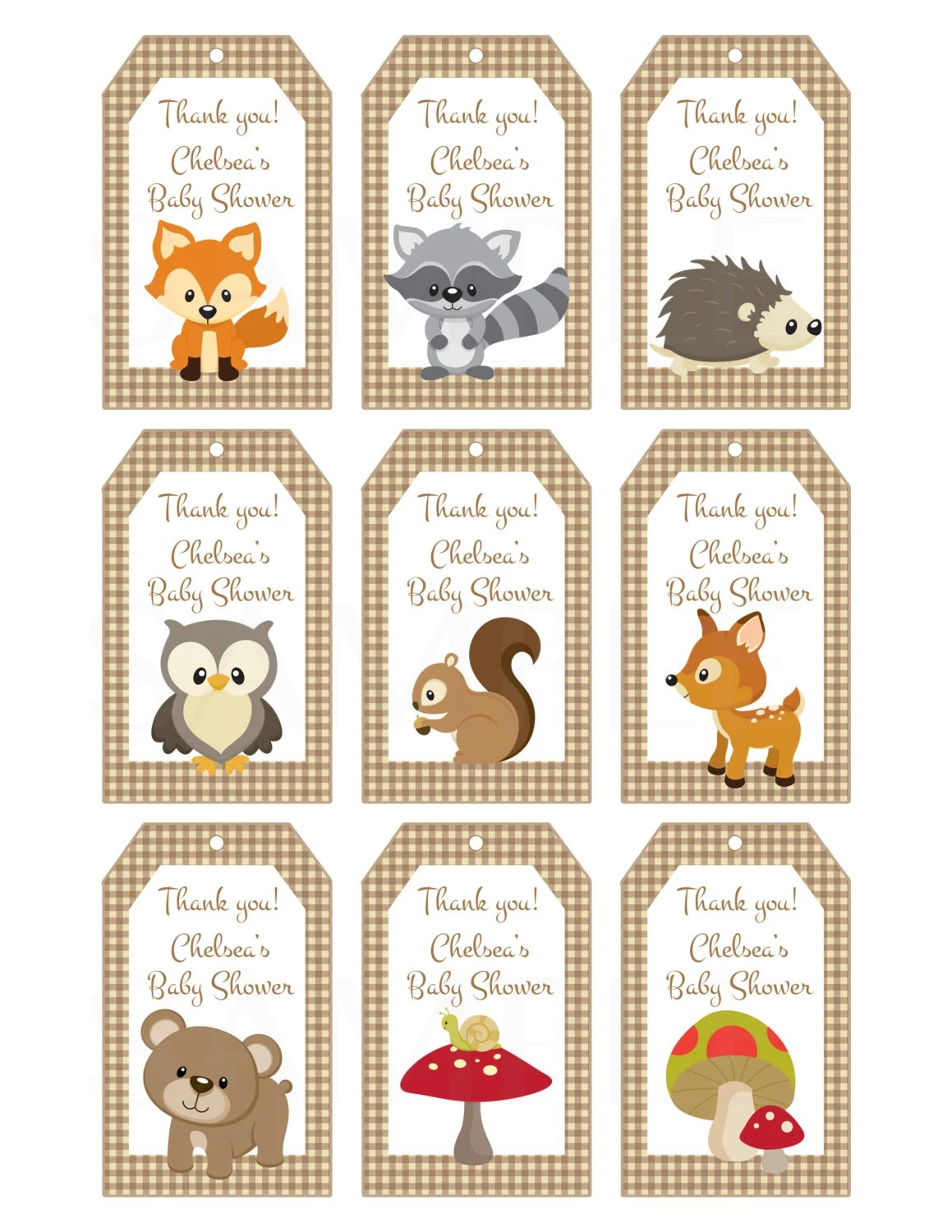 Woodland Friends Forest Animals Theme Baby Shower Favor Tags