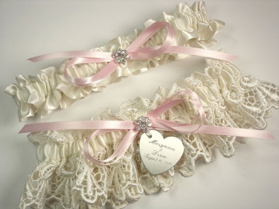 Personalized Pink Wedding Garter Set In By MakeThisDaySpecial